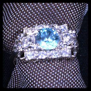 Jewelry - 14K White Gold Aquamarine Diamond Cocktail Ring